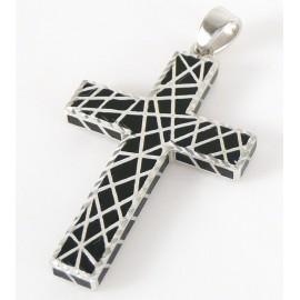 Stříbrný přívěsek s onyxem křížek