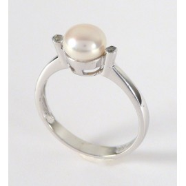 Zlatý prsten s perlou a zirkony