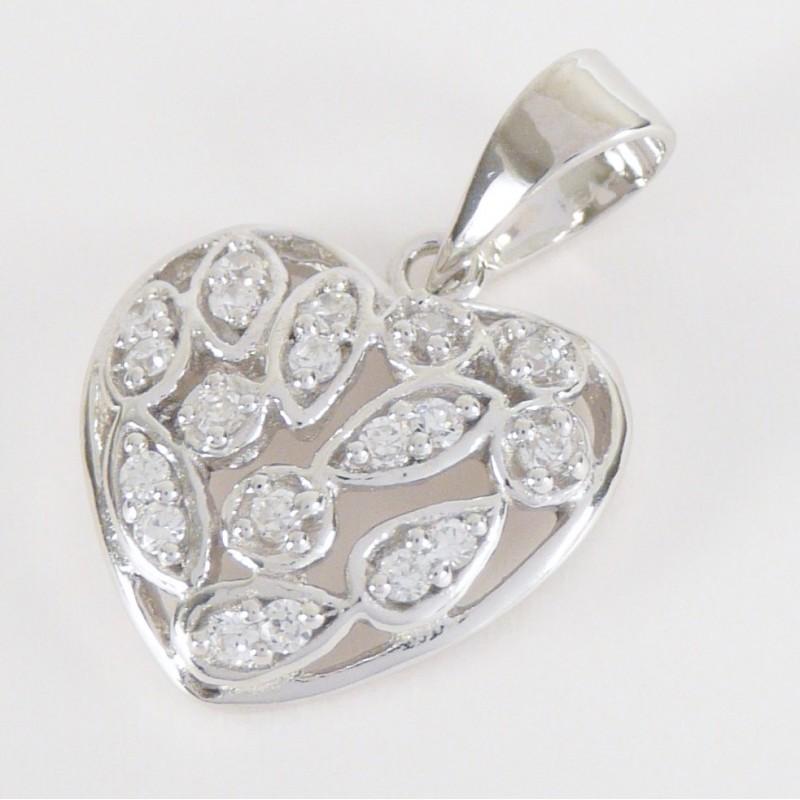 46d16fbfd Stříbrný přívěsek se zirkony srdce - Šperky Sypo - zlaté a stříbrné ...