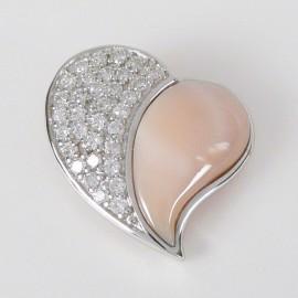 Stříbrný přívěsek s perletí srdce