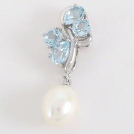 Stříbrný přívěsek s perlou a topazy