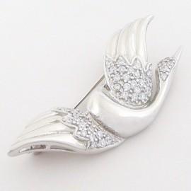 Stříbrná brož se zirkony labuť