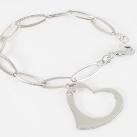 Stříbrný náramek s přívěskem srdce