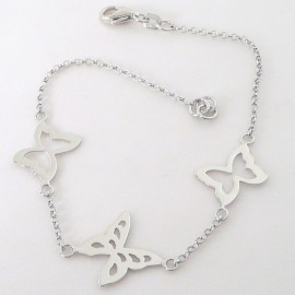 Stříbrný náramek s motýly