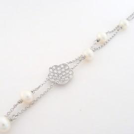 Stříbrný náramek s perlami a zirkony