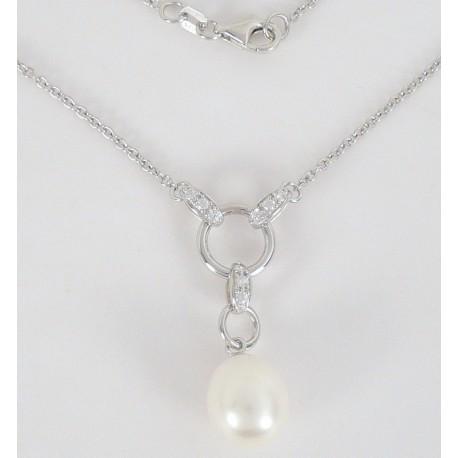 Stříbrný náhrdelník s perlou zirkony