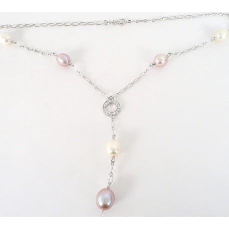 Stříbrný náhrdelník s perlami a zirkony