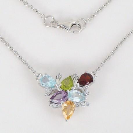 Stříbrný náhrdelník s polodrahokamy