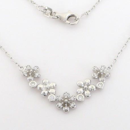 Stříbrný náhrdelník se zirkony květy