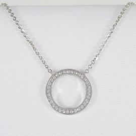 Stříbrný náhrdelník se zirkony kruh