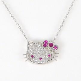 Stříbrný náhrdelník se zirkony kitty