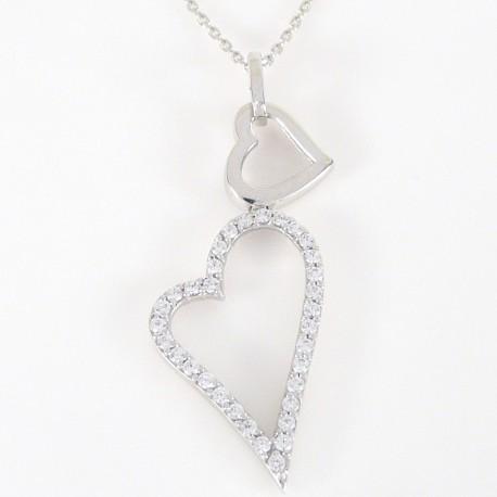 40858f582 Stříbrný náhrdelník se zirkony srdce - Šperky Sypo - zlaté a stříbrné šperky  - perly