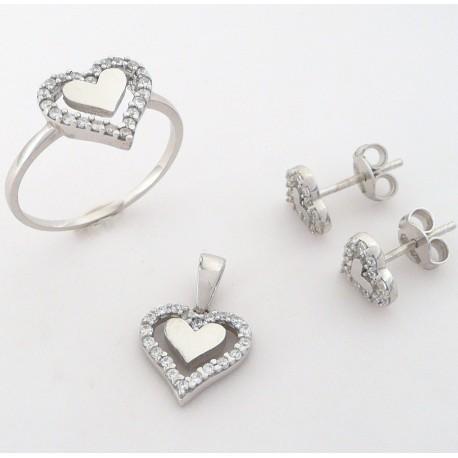 e4586c232 Stříbrná souprava se zirkony srdce - Šperky Sypo - zlaté a stříbrné šperky  - perly