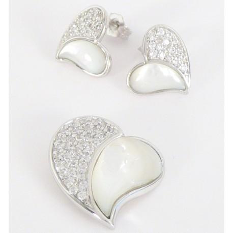 d5ceed85a Stříbrná souprava s perletí a zirkony srdce - Šperky Sypo - zlaté a stříbrné  šperky - perly