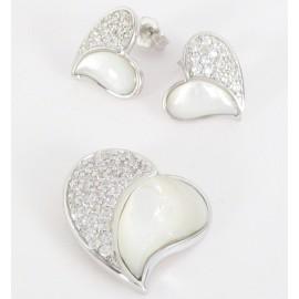 Stříbrná souprava s perletí a zirkony srdce