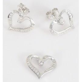 Stříbrná souprava se zirkony srdce
