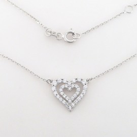 Zlatý náhrdelník se zirkony srdce