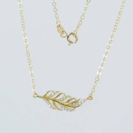 Zlatý náhrdelník se zirkony pírko