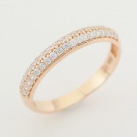 Zlatý prsten se zirkony z růžového zlata