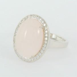 Stříbrný prsten s růženínem a zirkony