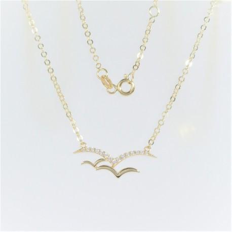 Zlatý náhrdelník se zirkony ptáci