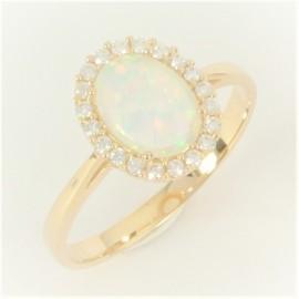 Zlatý prsten s opálem a zirkony