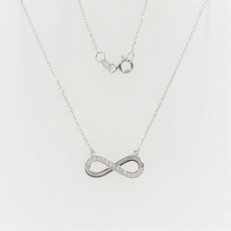 Zlatý náhrdelník se zirkony Infinity