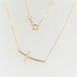Zlatý náhrdelník se zirkony křížek