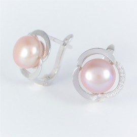 Stříbrné náušnice s perlami a zirkony