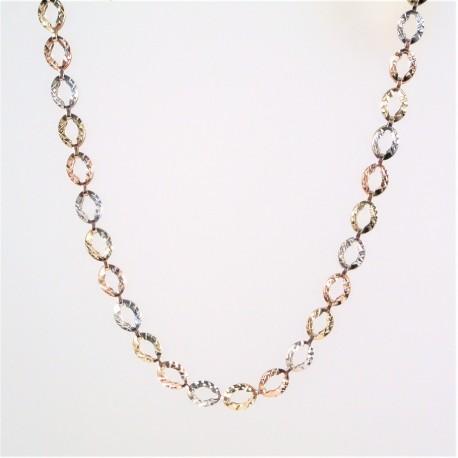 Zlatý náhrdelník gravírovaný tříbarevný