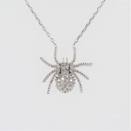 Stříbrný náhrdelník se zirkony pavouk