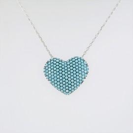 Stříbrný náhrdelník s tyrkysovými zirkony srdce