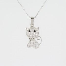 Stříbrný náhrdelník se zirkony kočka