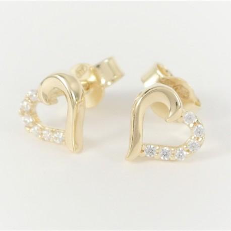 f29fcfd7a Zlaté náušnice srdce se zirkony - Šperky Sypo - zlaté a stříbrné ...