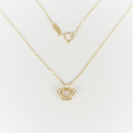 Zlatý náhrdelník se zirkonem korunka