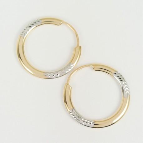 Zlaté náušnice kruhy gravírované