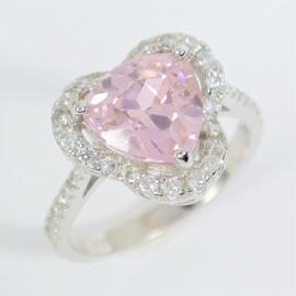Stříbrný prsten s růžovým zirkonem