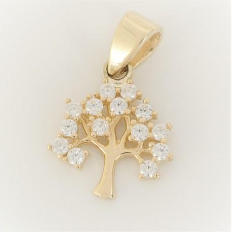 Zlatý přívěsek se zirkony strom