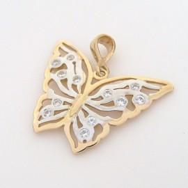 Zlatý přívěsek se zirkony motýl