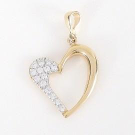 Zlatý přívěsek se zirkony srdce