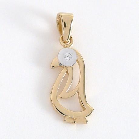 Zlatý přívěsek tučňák