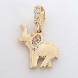 Zlatý přívěsek se zirkony slon