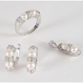 Zlatá souprava s perlami a zirkony