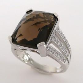 Stříbrný prsten se záhnědou a zirkony