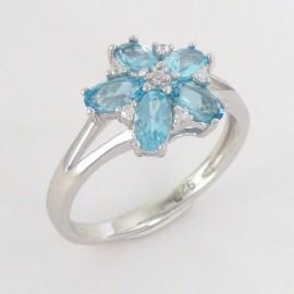 Stříbrný prsten s topazy a zirkony