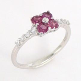 Stříbrný prsten s rhodality a zirkony
