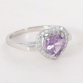 Stříbrný prsten s ametystem a zirkony