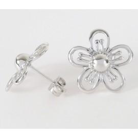 Stříbrné náušnice květy