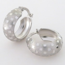 Stříbrné náušnice gravírované kruhy