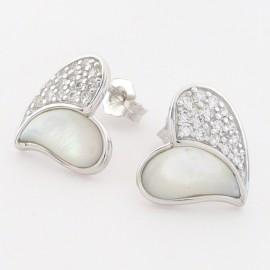 Stříbrné náušnice s perletí a zirkony srdce